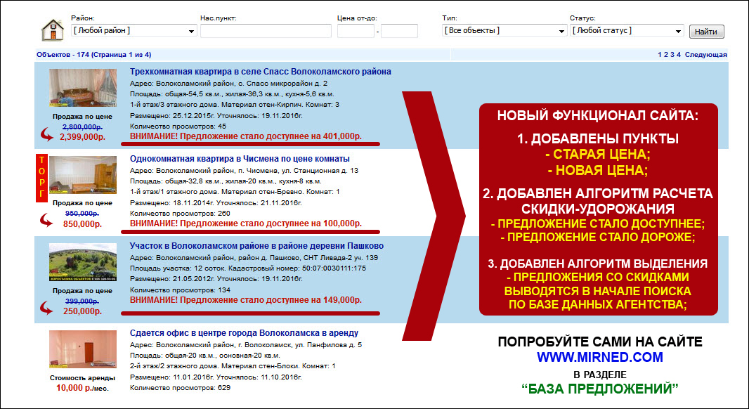 Новый функционал базы предложений агентства МИР НЕДВИЖИМОСТИ