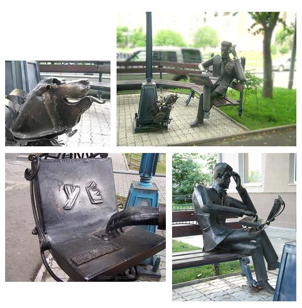 Памятник риэлтору с собачкой в г. Екатеринбурге