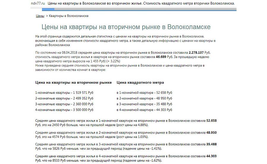 Статистика с сайта ndv77 и ndv50 по стоимости квартир в Волоколамске от 08 апреля 2018