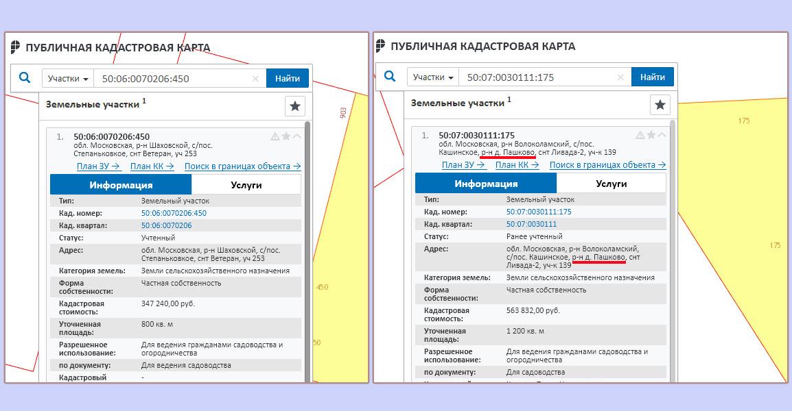 Разница в правильности присвоения адреса в Волоколамском и Шаховском районах